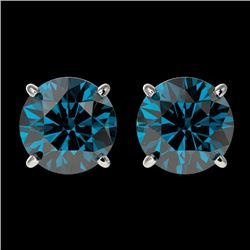 2 CTW Certified Intense Blue Genuine Diamond Solitaire Stud Earrings 10K White Gold - 36660-REF#154T