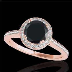 2.03 CTW Certified Black Genuine Diamond Bridal Solitaire Halo Ring 10K Rose Gold - 33539-REF#92K8R
