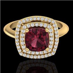 1.50 CTW Garnet & Micro Diamond Certified Pave Halo Ring 18K Yellow Gold - 20763-REF#69X5Y