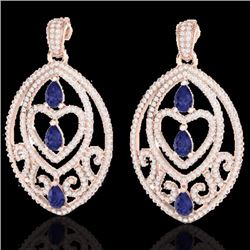 7 CTW Tanzanite & Micro Pave Diamond Heart Earrings Designer 14K Rose Gold - 21162-REF#234M8G