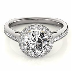1.30 CTW Certified G-I Genuine Diamond Solitaire Halo Ring 10K White & Yellow Gold - 34338-REF#109W5