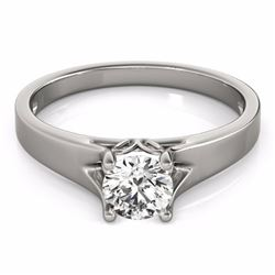 1 CTW Certified Fancy Intense Genuine Diamond Solitaire Bridal Ring 10K White Gold - 35162-REF#91N5F
