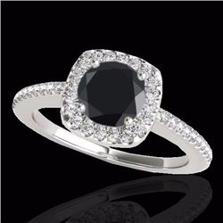 1.25 CTW Certified Black Genuine Diamond Bridal Solitaire Halo Ring 10K White Gold - 33826-REF#53H8W