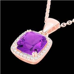 3 CTW Amethyst & Micro Diamond Pave Halo Solitaire Necklace 14K Rose Gold - 22816-REF#37G2M