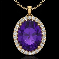 2.75 CTW Amethyst & Micro Diamond Halo Solitaire Necklace 18K Yellow Gold - 20577-REF#42W5H