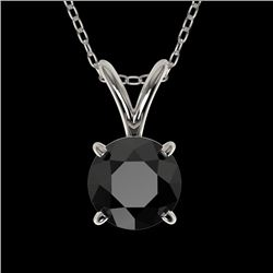 0.75 CTW Fancy Black Genuine Diamond Bridal Solitaire Necklace 10K White Gold - 33175-REF#22V8A