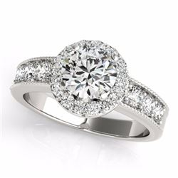 2.10 CTW Certified Fancy Intense Genuine Diamond Solitaire Halo Ring 10K White Gold - 34547-REF#167M