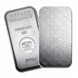 One piece 500 gram 0.999 Fine Silver Bar Geiger Security Line Series
