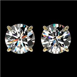 2.03 CTW Certified H-I Quality Genuine Diamond Solitaire Stud Earrings 10K Yellow Gold - 36633-REF#1