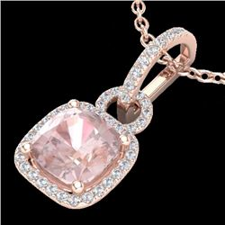 2.75 CTW Morganite & Micro Diamond Certified Halo Necklace 14K Rose Gold - 22987-REF#68V8A