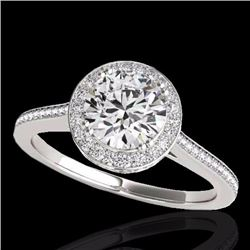 2.03 CTW Certified G-I Genuine Diamond Bridal Solitaire Halo Ring 10K White Gold - 33535-REF#342A8V
