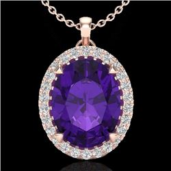 2.75 CTW Amethyst & Micro Diamond Halo Solitaire Necklace 14K Rose Gold - 20575-REF#36M8G
