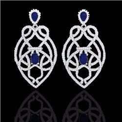 7 CTW Sapphire & Micro Diamond Heart Earrings Designer Solitaire 14K White Gold - 21140-REF#224V4A