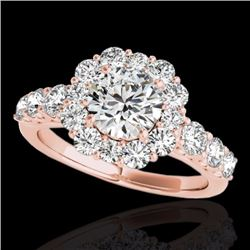 2.25 CTW Certified G-I Genuine Diamond Bridal Solitaire Halo Ring 10K Rose Gold - 33383-REF#154F8N