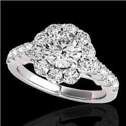 3 CTW Certified G-I Genuine Diamond Bridal Solitaire Halo Ring 10K White Gold - 33553-REF#376Z8T