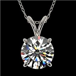 1.55 CTW Certified H-I Quality Genuine Diamond Solitaire Necklace 10K White Gold - 36796-REF#297H2W