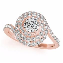 2.11 CTW Certified G-I Genuine Diamond Bridal Solitaire Halo Ring 10K Rose Gold - 34514-REF#161V8A