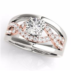 1.55 CTW Certified G-I Genuine Diamond Solitaire Bridal Ring 10K White & Rose Gold - 35293-REF#147N8