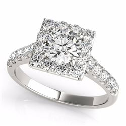 2.50 CTW Certified Fancy Intense Genuine Diamond Solitaire Halo Ring 10K White Gold - 34148-REF#203M
