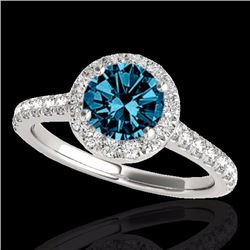 1.70 CTW Certified Fancy Blue Genuine Diamond Solitaire Halo Ring 10K White Gold - 33594-REF#143G3M