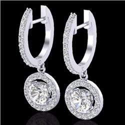 1.75 CTW Micro Pave Halo Solitaire Diamond Certified Earrings 18K White Gold - 23253-REF#145N9F