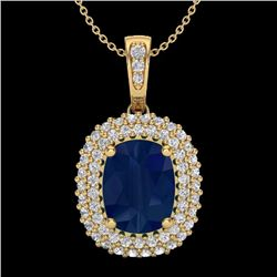 3.15 CTW Sapphire & Micro Pave Diamond Certified Halo Necklace 18K Yellow Gold - 20420-REF#64H2W