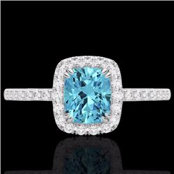 1.25 CTW Sky Blue Topaz & Micro Pave Diamond Certified Halo Ring 10K White Gold - 22912-REF#25H8W