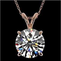 2 CTW Certified H-I Quality Genuine Diamond Bridal Solitaire Necklace 10K Rose Gold - 33231-REF#424T