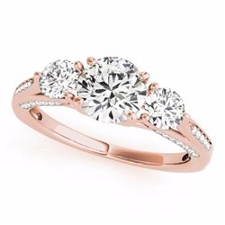 1.75 CTW Certified Fancy Blue Genuine Diamond 3 Stone Bridal Ring 10K Rose Gold - 35355-REF#148W5H