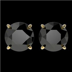 3 CTW Fancy Black Genuine Diamond Bridal Solitaire Stud Earrings 10K Yellow Gold - 33125-REF#71G2M