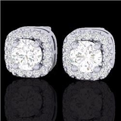 0.75 CTW Micro Pave Diamond Certified Earrings Designer Halo 18K White Gold - 21174-REF#63F8N