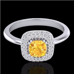 1.16 CTW Citrine & Micro Diamond Ring Solitaire Double Halo 18K White Gold - 21026-REF#66H8W