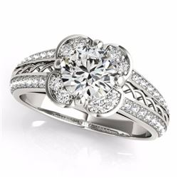 2.05 CTW Certified G-I Genuine Diamond Bridal Solitaire Halo Ring 10K White Gold - 34265-REF#340A3V