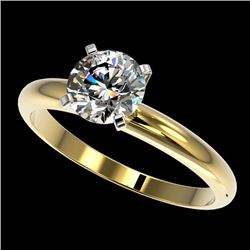 1.25 CTW Certified H-I Quality Genuine Diamond Solitaire Engagement Ring 10K Yellow Gold - 32905-REF