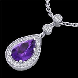 2.25 CTW Amethyst & Micro Pave Diamond Necklace Designer 18K White Gold - 23127-REF#36K2R