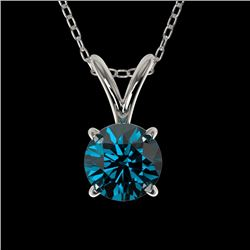 0.53 CTW Certified Intense Blue Genuine Diamond Solitaire Necklace 10K White Gold - 36728-REF#36G5M