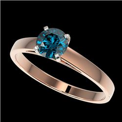 0.75 CTW Certified Intense Blue Genuine Diamond Solitaire Engagement Ring 10K Rose Gold - 32978-REF#