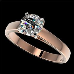 1.25 CTW Certified H-I Quality Genuine Diamond Solitaire Engagement Ring 10K Rose Gold - 33001-REF#1