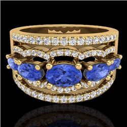 2.25 CTW Tanzanite & Micro Pave Diamond Certified Designer Ring 10K Yellow Gold - 20808-REF#65T2Z
