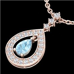 1.15 CTW Aquamarine & Micro Pave Diamond Necklace Designer 14K Rose Gold - 23161-REF#55Z2T