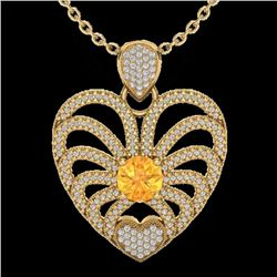3 CTW Citrine With Micro Pave Diamond Certified Heart Necklace 14K Yellow Gold - 20503-REF#101T9Z