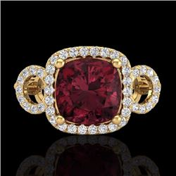3.75 CTW Garnet & Micro Diamond Certified Ring 18K Yellow Gold - 23005-REF#69X8Y