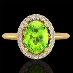 1.75 CTW Peridot & Micro Diamond Bridal Ring Solitaire Halo 18K Yellow Gold - 21017-REF#45M9G