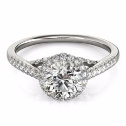 1.50 CTW Certified Fancy Intense Genuine Diamond Solitaire Halo Ring 10K White Gold - 34385-REF#118Z