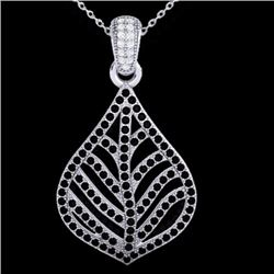 1.25 CTW Micro Pave Black & White Diamond Necklace Designer 18K White Gold - 21283-REF#86M3G