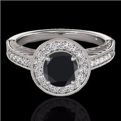 1.50 CTW Certified Black Genuine Diamond Bridal Solitaire Halo Ring 10K White Gold - 33745-REF#69F2N