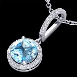 2.75 CTW Sky Blue Topaz & Micro Pave Diamond Certified Necklace 18K White Gold - 23200-REF#33X3Y