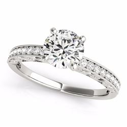 1.18 CTW Certified G-I Genuine Diamond Solitaire Bridal Antique Ring 10K White Gold - 34603-REF#95N8