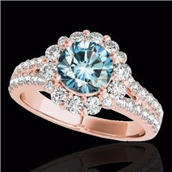 2.01 CTW Certified Fancy Blue Genuine Diamond Solitaire Halo Ring 10K Rose Gold - 33937-REF#143G8M