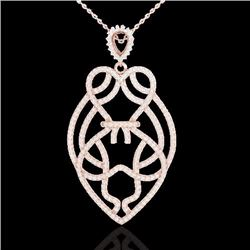 1.80 CTW Micro Pave Diamond Certified Heart Necklace Designer 14K Rose Gold - 21258-REF#115N9F
